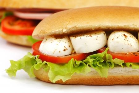 pic nic: Sandwich with mozzarella tomato and salad
