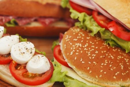 multi grain sandwich: pile of sandwiches close