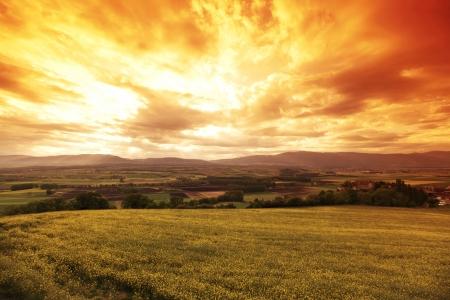 moody sky: germany lanscape fields
