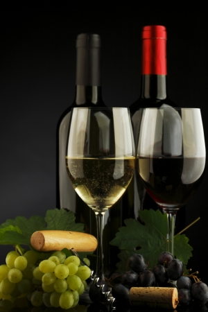 alcoholic beverage: two bottle of red and white wine Stock Photo