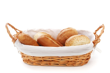 bread rolls: bread in wicker basket isolated on white