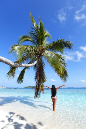 Woman in bikini under palm on sea background photo
