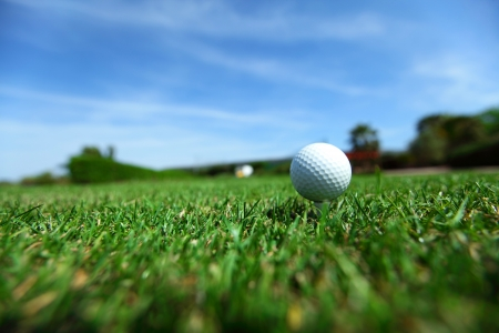 golf equipment: golf-ball on course Stock Photo
