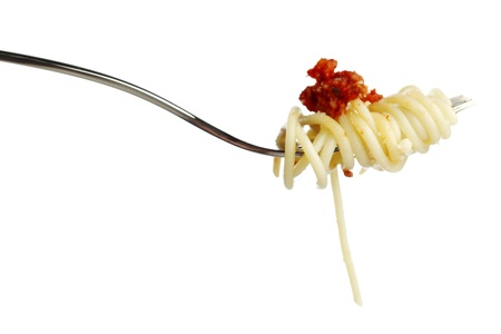 Pasta on fork isolated on white background photo
