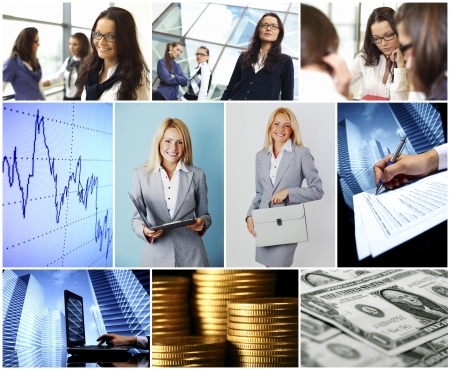 Conceptual business collage with busnesswomen photo