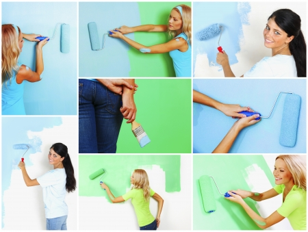 Set of women painting awall photo