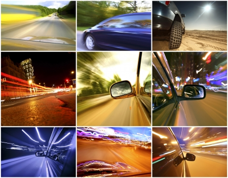 Collage of cars driving fast on different roads photo