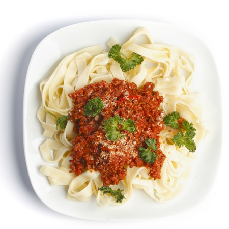 bolognese: Spaghetti bolognese on white plate top view Stock Photo