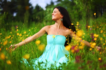 nature love woman on flower field Stock Photo - 21350302
