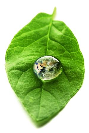 ahorrar agua: El mundo en una gota de agua sobre una hoja de elementos de esta imagen proporcionada por la NASA