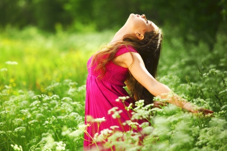 woman outdoor feel natural freedom