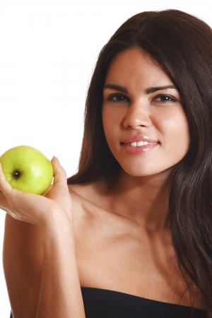 woman hold apple in hands isolated on white photo