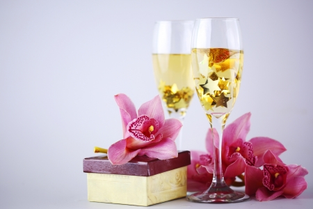 holyday card champagne and orchid photo