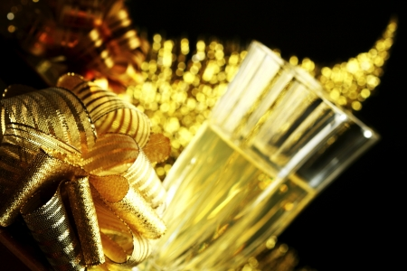 holyday: holyday card golden champagne and gift Stock Photo