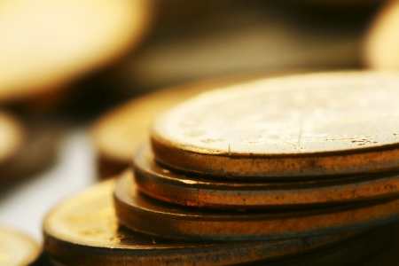 pile of coins: coins background macro close up Stock Photo