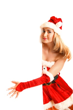 mrs  claus: pin-up santa girl hold in hands christmas empty blank
