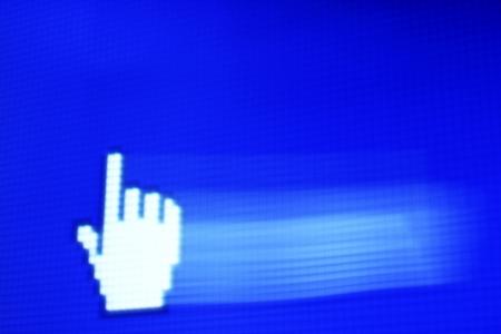 finger corsor on blue pixel screen Stock Photo - 22080002