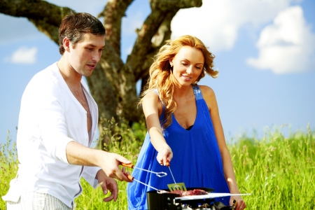 meat lover: lovers on picnic cook steak Stock Photo