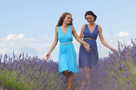 two women on lavender field photo