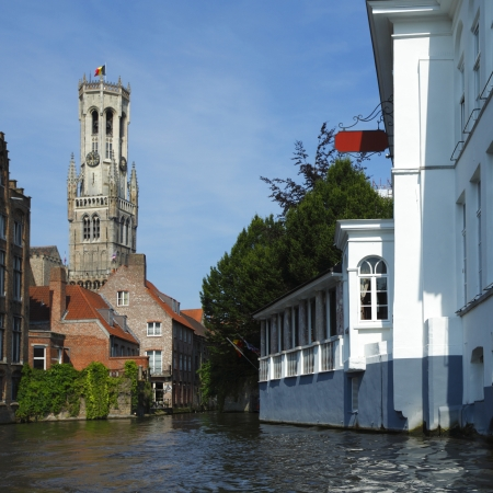 belfort: View from canal on Belfort tower (town hall) in Bruges, Belgium
