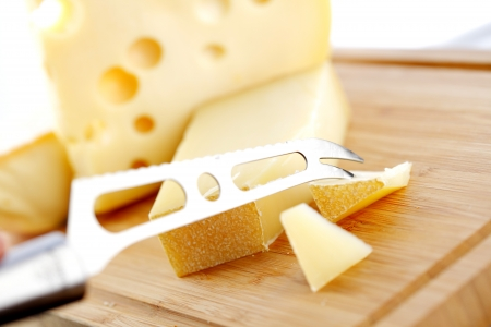 edam: cheese with a cheese knife Stock Photo