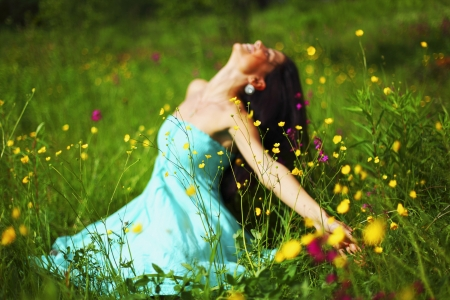 nature love woman on flower field Stock Photo