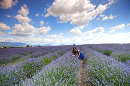 woman on lavender field photo