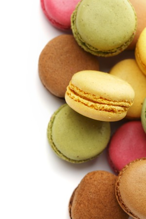 confections: Colorful macaroons on white background