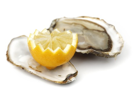 Oyster and lemon on white photo