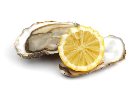 half fish: Oyster and lemon on white