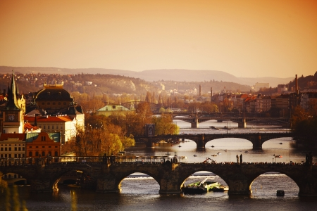 charles bridge an morning sun photo