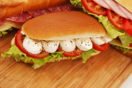 multi grain sandwich: pile of sandwiches close-up Stock Photo