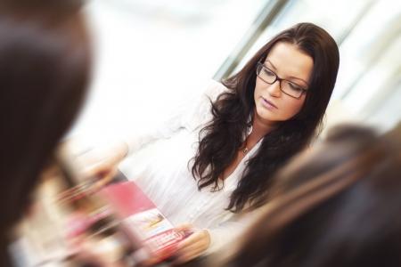 girl thinking on examinination photo