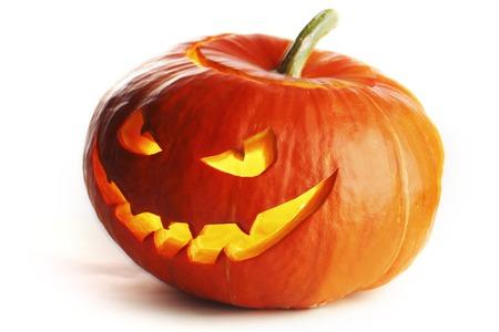 scary pumpkin: Halloween Pumpkin isolated on white