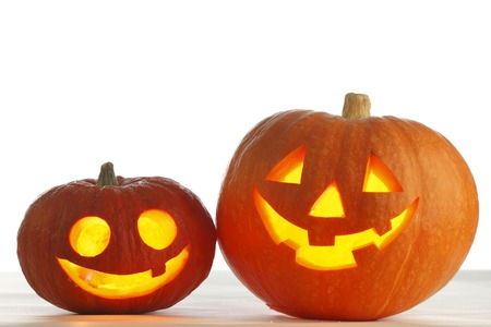 Two funny Halloween pumpkins  photo