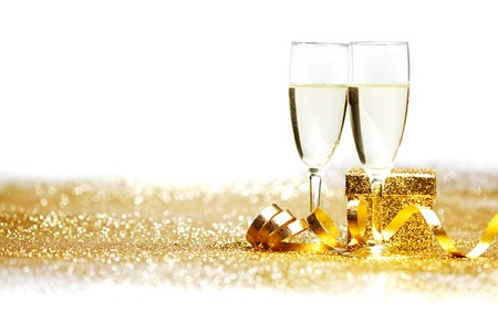 Two champagne glasses and decoration  photo