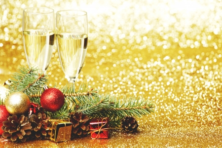 Champagne and new year decoration  photo