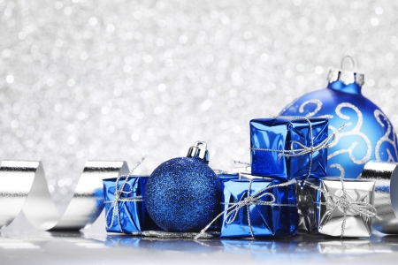 Christmas card with blue decoration on silver background Stock Photo