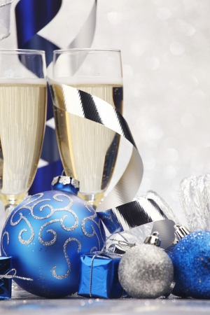 New year card with Champagne and decoration close-up photo