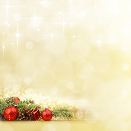 christmas present box: New year card with fir branch and decoration on shiny stars background
