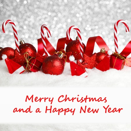 copy christmas: Merry christmas and happy new year card with red decoration