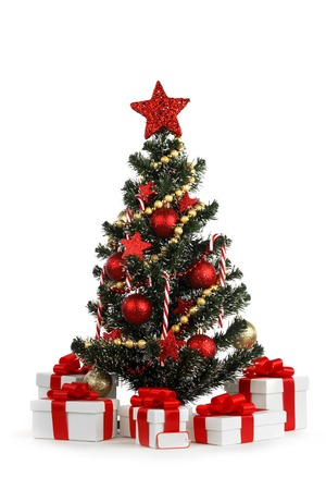 Decorated Christmas tree isolated on white  photo