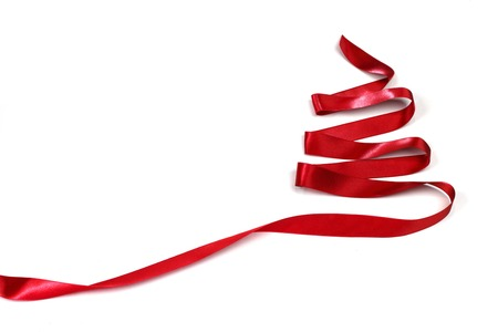 Ribbon christmas tree isolated on white  photo