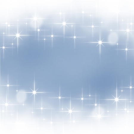 Blue shiny stars christmas bokeh background photo