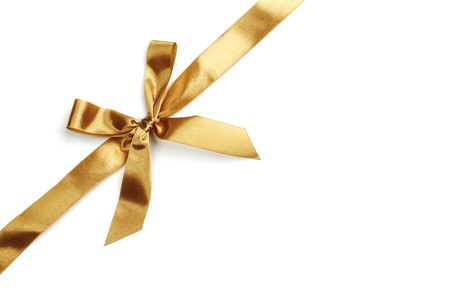 Golden bow isolated on white background photo