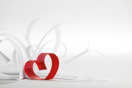 valentine background: Valentines day card with paper and ribbon hearts on white Stock Photo