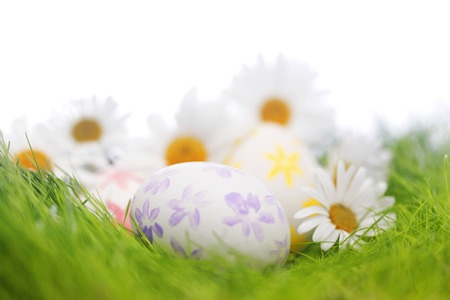Decorated easter eggs in spring grass photo