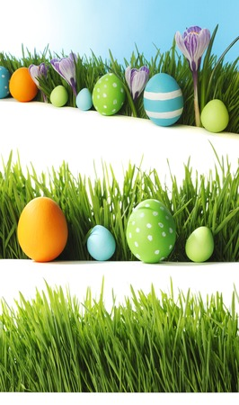 Row of Easter eggs in Fresh Green Grass photo