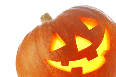 jack o lantern: Funny Jack O Lantern halloween pumpkin with candle light inside isolated on white background