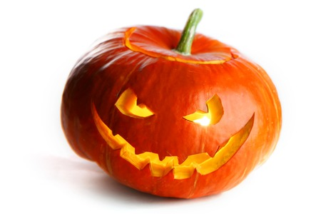 Scary Halloween Pumpkin isolated on white background photo